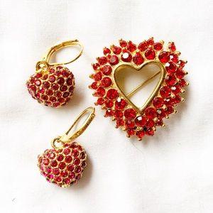Heart Earrings & Brooch Lapel Pin